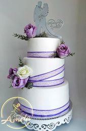 Elegante Hochzeitstorte mit lila Rosen von Torte Amela – cakesdecor.com / …   – Chocolate Wedding Cake