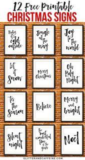 12 kostenlose druckbare Weihnachtsschilder zum Dekorieren Ihres Hauses für die Feiertage