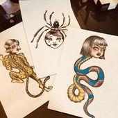 #skizzen #tattoo #tattooinspiration #spider #face #snake