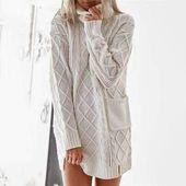Twist Knit Sweater with Pockets – Women's fashion