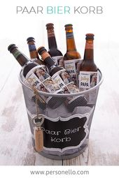 DIY #Gift: Couple Beer Basket with Custom Text and Cool Templates Personalize …  – DIY Geschenke selber machen