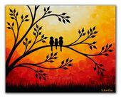 Sunset painting Family of birds art, Giclee print of Original painting, Yellow orange red canvas art Birds on tree wall art 8×10 print