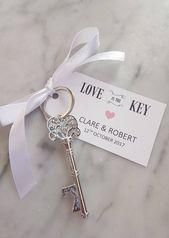 Wedding Favour 10 x Vintage Key Keyring Keepsake Beer Bottle Opener Decor & Personalised Label/Tag – Love is the Key