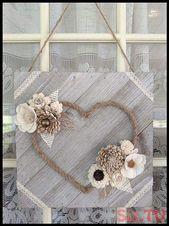 Neutral Wood Flower Mini Heart Board Sola Wood Flo…