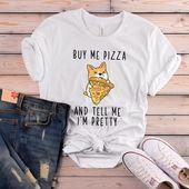 Kaufen Sie mich Pizza und sagen Sie mir, dass ich hübsches T-Shirt, lustiges Corgi-T-Shirt, Pizzaliebhaber-T-Shirts, Corgiliebhaber Geschenk, Hundezitat-T-Shirt, Hundemamma-Hemd bin