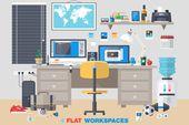 Illustrator Workspace Office Room Interior Workplace by karnoff on Creative Market