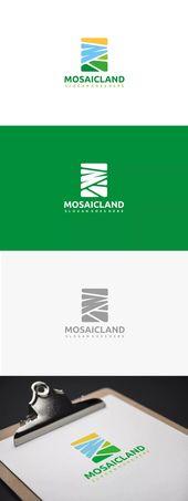 Plantilla de logotipo de paisaje mosaico AI, EPS   – Logo Templates