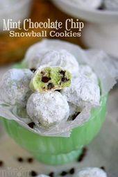 Schmelzen Sie in Ihrem Mund Minze Chocolate Chip Schneeball Cookies sind eine Wohltat, die Sie gewonnen haben …