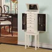 Modern White Jewelry Armoire & Jewelry Organizer with Mirror Free Standing Solid Wood