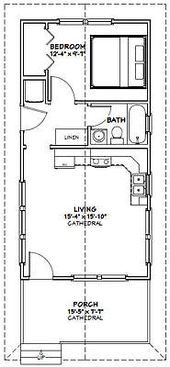 Details about 16×32 Tiny House — 511 sq ft — PDF Floor Plan — Model 2F