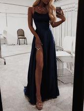 A-Line Navy Blue Prom Dresses Satin Fashion Dress Cheap 2019 Evening Dress Lan