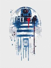 Star Wars cross sew sample R2D2 cross sew sampler Watercolor cross sew Fashionable house decor BB-Eight Clone Darth Vader Boba Fett Humorous