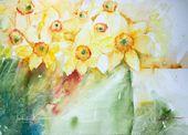 Aquarell, Aquarelle, Blumenbilder, Daffodils, flowers, Frühling, loose techniqu…