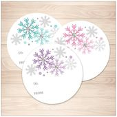 Printable Snowflake Gift Tag Stickers, 3 colors – Turquoise Purple Pink with Gray, round To and From 2″ Stickers, Instant Download