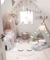 Mädchenschlafzimmer, Kinderzimmer im nordischen Stil, Renovierung, minimalistischer Stil, Innenarchitektur