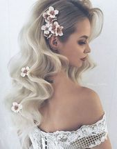 Herbst Hochzeitsfrisur mit Blumen