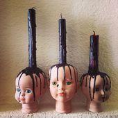 Meine Babys! Geisterhafte Halloween-Dekorationen. Babyköpfe, Puppenköpfe, Kerz…