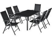 Aluminium Sitzgruppe 6 + 1 dunkelgrau von Tectake   – Products