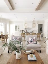 Open layout living room and kitchen, Benjamin Moore classic gray, white kitchen,…