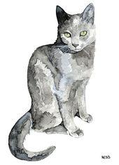 """Graue Katze Malerei – Print von meiner ursprünglichen Aquarellmalerei, """"Luna"""", Pet Decor, Katze, Kätzchen, Cat Print, Cat Painting"""