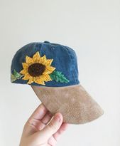Hand Embroidered Hat – custom embroidered hat – cactus embroidered hat – festival hat – embroidered baseball cap – washed denim hat – embroidery