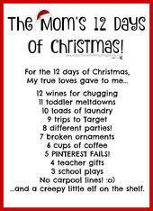 The Mom's 12 Days of Christmas | funny mother | mom life | mom ...