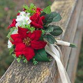 Weihnachtsstern roter Samt Urlaub Hochzeit Seidenblume Brautstrauß Dekor (kleiner Strauß)   – Products