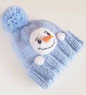 Schneemann Hut Kinder Wintermütze Strickmütze, Pom Pom Mütze, Säugling Schneemann Hut, Kinder-Outfit, frostigen Hut, gestrickte Mütze, warme Wintermütze, blaue Mütze