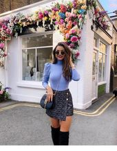 Blaue Bluse und Minirock #Frauen #Mode – Chic – #Blau #Bluse #Chic #Mode – bester rock