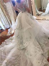 Tulle High-Neck Appliques Detachable-Train Long Sleeves Glamorous Wedding Dresses