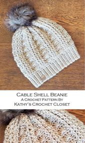 Crochet Beanie PATTERN – Cable Shell Beanie – Crochet Hat Pattern – DIY Crochet Hat – Fux Fur Pompom Hat Pattern – Womens Hat Pattern