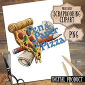 Pizza Lover DnD Clipart, D20 Party Food Digital Scrapbooking, RPG and Tabletop Digital PNG, Pizza Junkfood Clipart, Nerdy Gaming Clipart