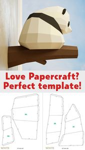 Papercraft Little Panda, DIY Paper craft, 3D template PDF package, make your individual low poly child panda, origami pepakura, residence decor thought, statue