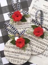 Musique de Carol Noël ornement, Decoupaged avec des paillettes, fleur feutrine rouge, lot de 3