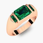 2.5 CT Emerald Cut Emerald Baguette Modern Men's 14K Anillo de bodas de aniversario de oro rosa sólido Band R # 700-77   – Men's Rings/Bands