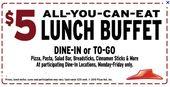 $ 5 All You Can Eat Lunchbuffet @ Pizza Hut :) Holen Sie sich unbegrenzt Pizza, Pasta, Salat …