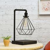 Tischlampe: Schwarze geometrische Cage Industrial Edison Schreibtischlampe