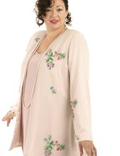Alternative Bridal Formal Custom Jacket Wildflowers Embroidered Beaded Silk Pink Sizes 14 – 32