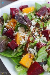 Dieser orangefarbene Rüben-Feta-Frühlingssalat ist ein einfacher und klassi …