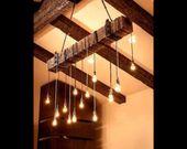 Rustikale industrielle moderne hängende zurückgeforderte hölzerne Lichtstrahlleuchte mit LED-Lampen und verrosteter Kette