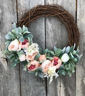 Wreaths Spring, Mothers Day Gift, Spring Door Wreath, Wreath for Front Door Spring, Pink Peony Wreath, Spring Wreath, Farmhouse Decor