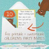 Free printable Children's party invites