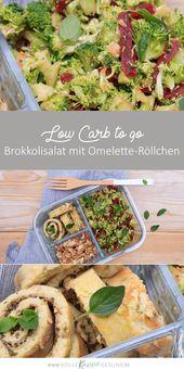 Brokkolisalat mit Omeletterollen   – LCHF Rezepte – für unterwegs