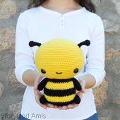 PATTERN: Cuddle-Sized Bumble Bee Amigurumi Crocheted Honey