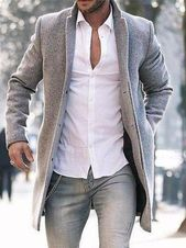 Mid-Length Plain Slim Spring Coat – Men's fashion