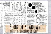 Livre des ombres Tables de correspondances pour les rituels magiques, 16 pages imprimables Journal de sorcière à la main, dessinées en 3 tailles   – Book of Shadows