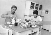 Hoeneß and FC Bayern München teammate Paul Breitner sitting at the table in th… – Die Mannshaft