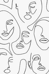 Gedruckte abstrakte Gesichter in Linien, eine Linie Artwork Print, Fashion Poster, minimalist…