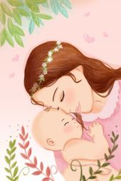 Baby Ilustration Mother care care baby illustration image