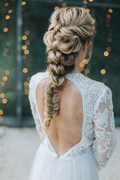 Brautfrisuren 2018 für mittellanges und langes Haar mit Glitzer   – Brautfrisuren und Haare für Hochzeit